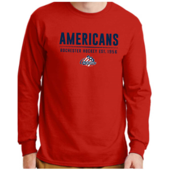 Rochester Americans Red Cotton Long Sleeve Tee