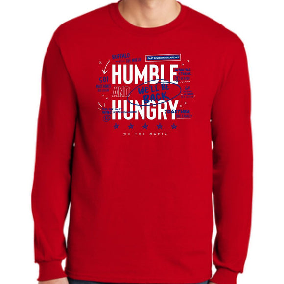 *PRE-SALE* Buffalo Bills Humble and Hungry Red Long Sleeve Tee