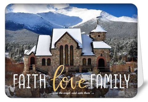 Faith, Love, Family Christmas Greetings Card