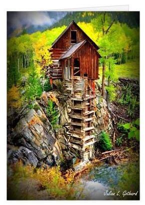 The Crystal Mill Mantled in Gold Greetings Card