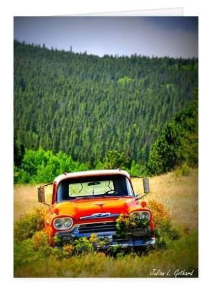 Old Chevy Truck on Apex Road Greetings Card