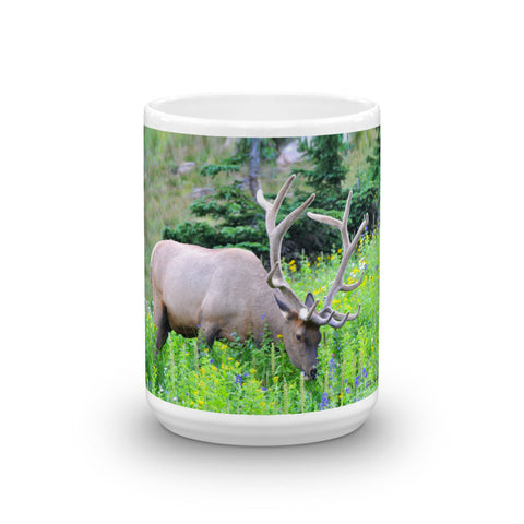 A Bull Elk in Wildflowers Mug