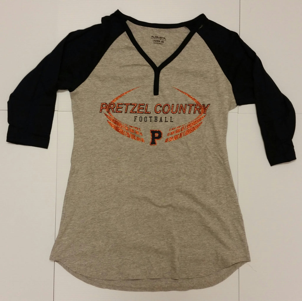 Pretzel Country Football Glitter Quarter Sleeve Ladies Shirts