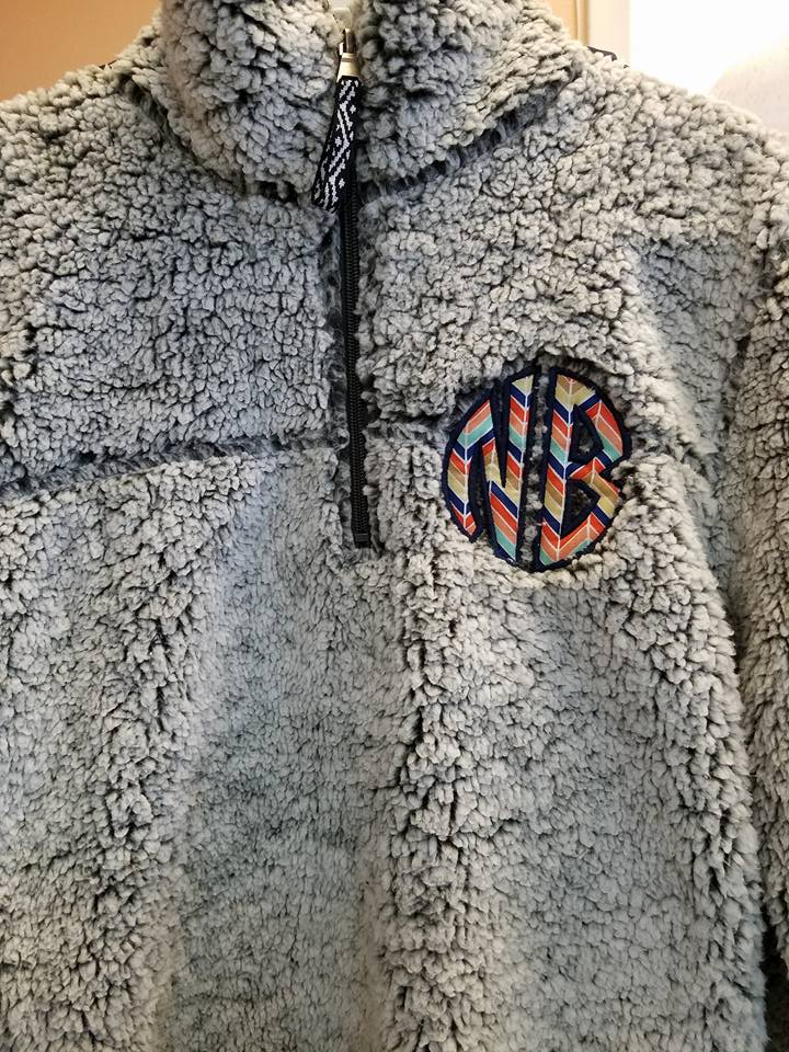 Sherpa Pullover with Monogram Applique
