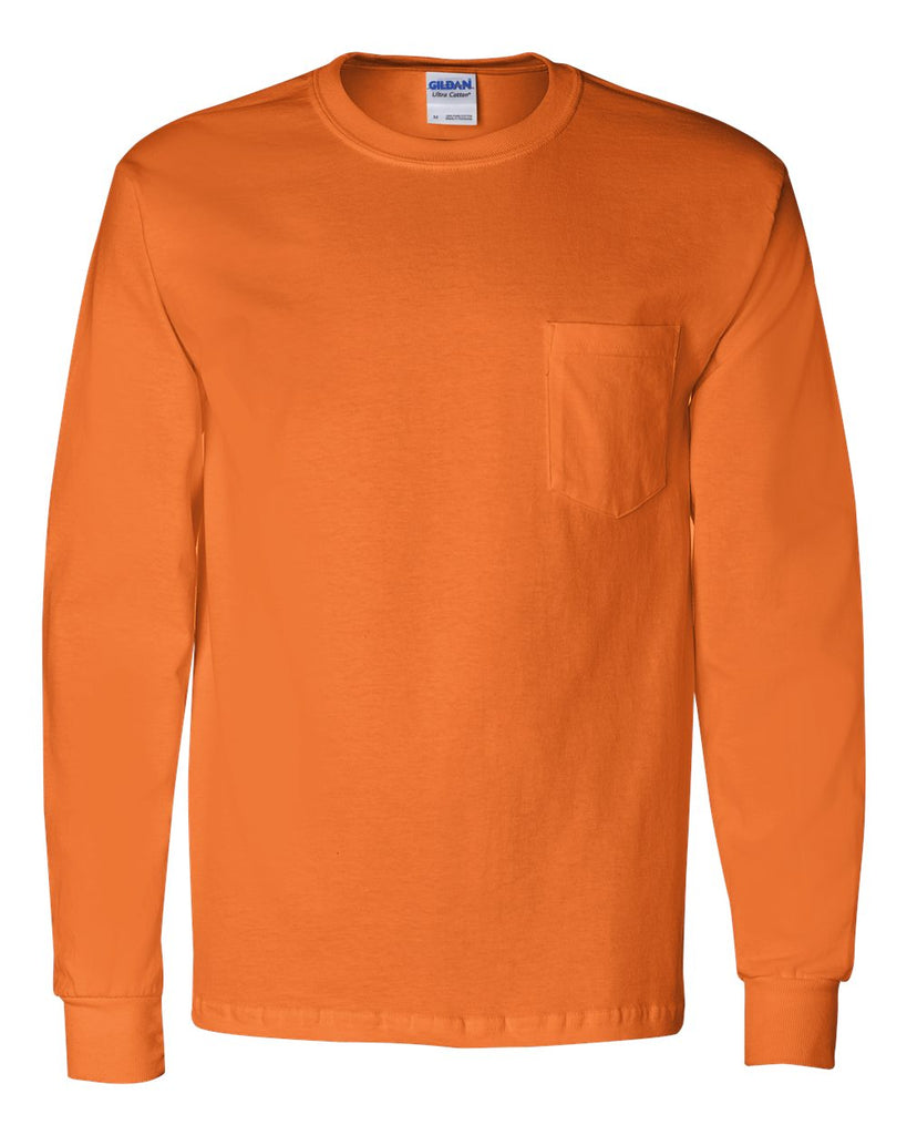 GILDAN LONG SLEEVE WITH POCKET - 2410(SHOWN IN SAFETY ORANGE)