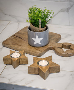 Natural star tealight holders s/2