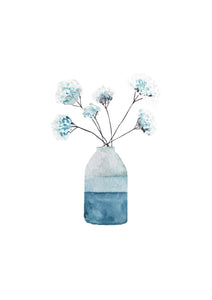 Blue Flowers A4 Giclee Print