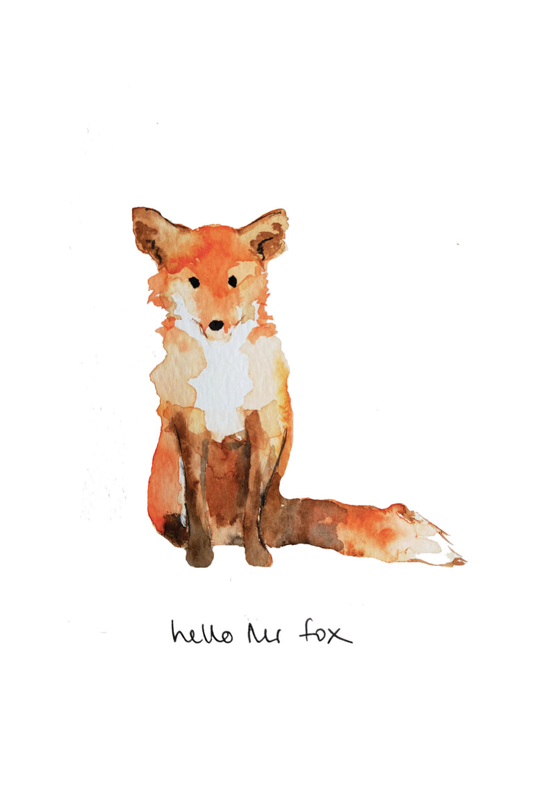 Hello Mr Fox A4 Giclee Print