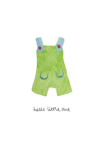 Hello Little One - Dungarees A4 Giclee Print