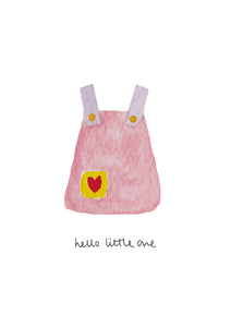Hello Little One - Pink Dress A4 Giclee Print