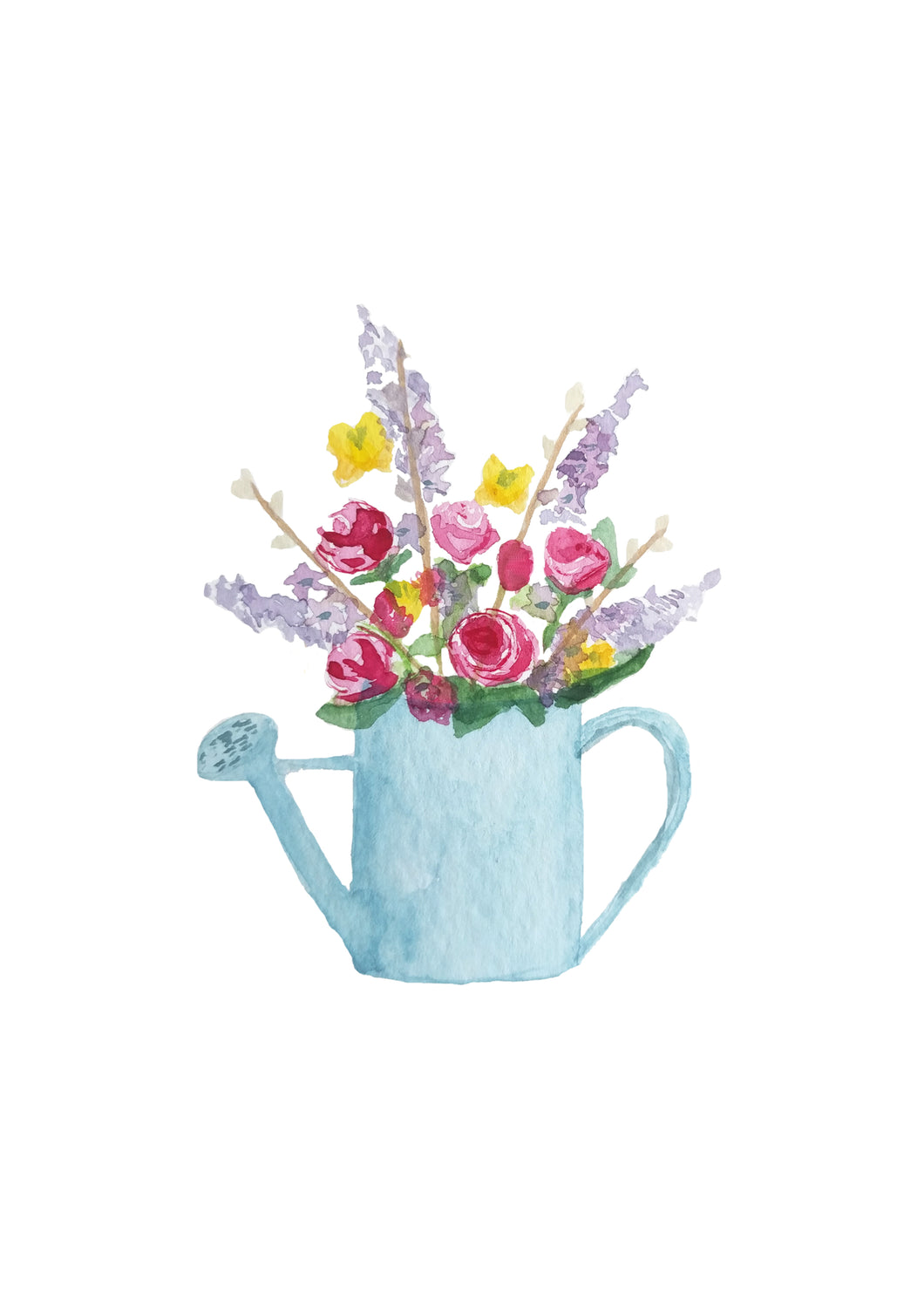 Watering Can Flowers A4 Giclee Print