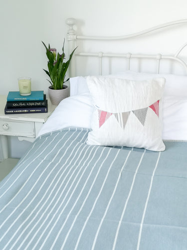 Organic Cotton Throw Duckegg Stripe