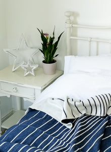 Organic Cotton Throw Navy Stripe