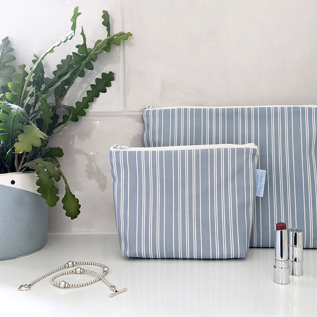 Salt Stripe Blue Makeup Bag