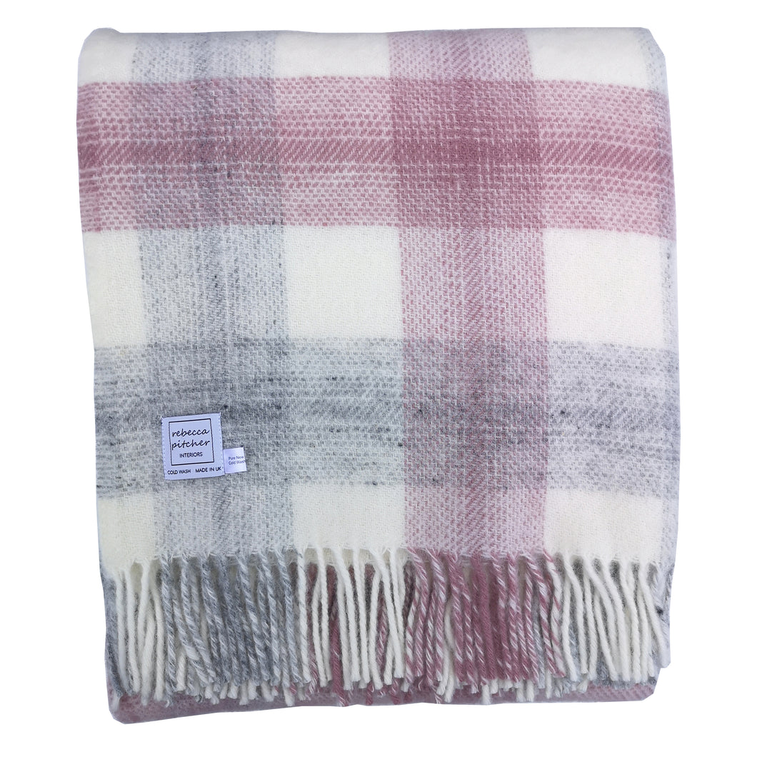Pink Meadow Check Wool Blanket