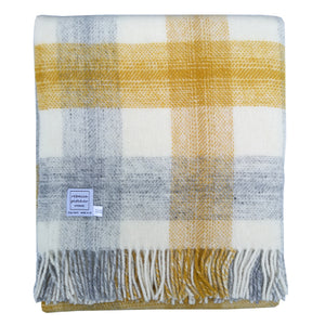 Yellow Meadow Check Wool Blanket