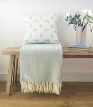 duckegg blue hare cushion and duckegg blue blanket