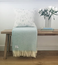 duckegg blue meadow flower cushion and duckegg blanket