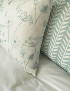 duckegg blue and white meadow flower and wishbone design cushions
