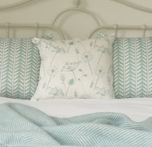 duckegg blue meadow flower and wishbone cushions