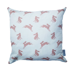 dusky pink and white hare cushion