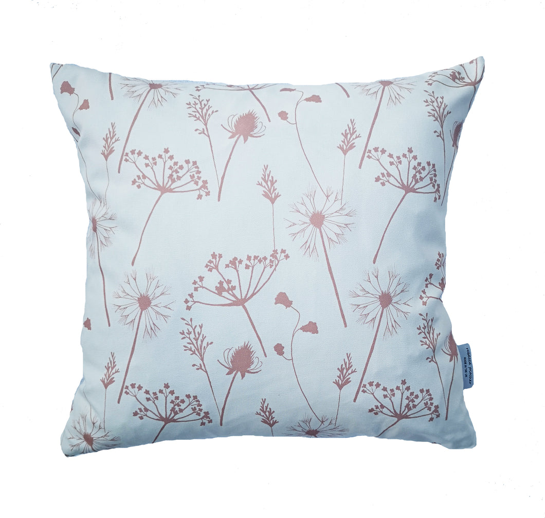 dusky pink meadow flower cushion
