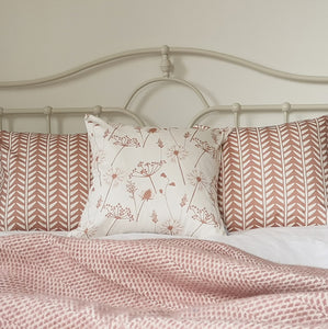 dusky pink meadow flower and wishbone cushions
