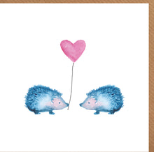 Load image into Gallery viewer, Blank Card featuring two blue hedgehogs holding a heart shaped balloon