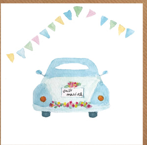 Vintage wedding car card
