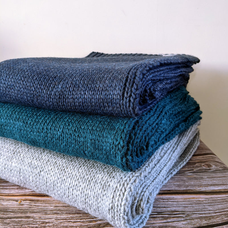 Teal Knitted Alpaca Throw