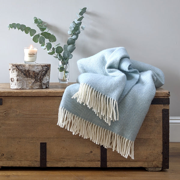 Large Duckegg Herringbone Wool Throw