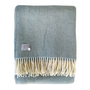 Large Duck Egg Blue Wool Throw