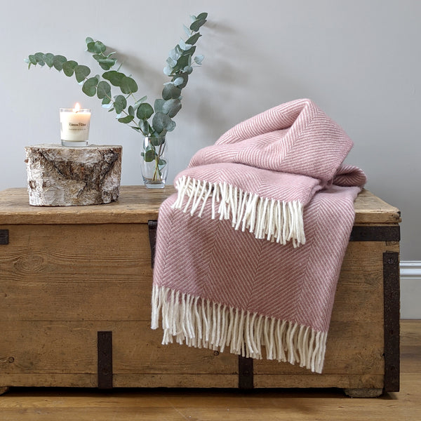 Large Pink Herringbone Wool Throw