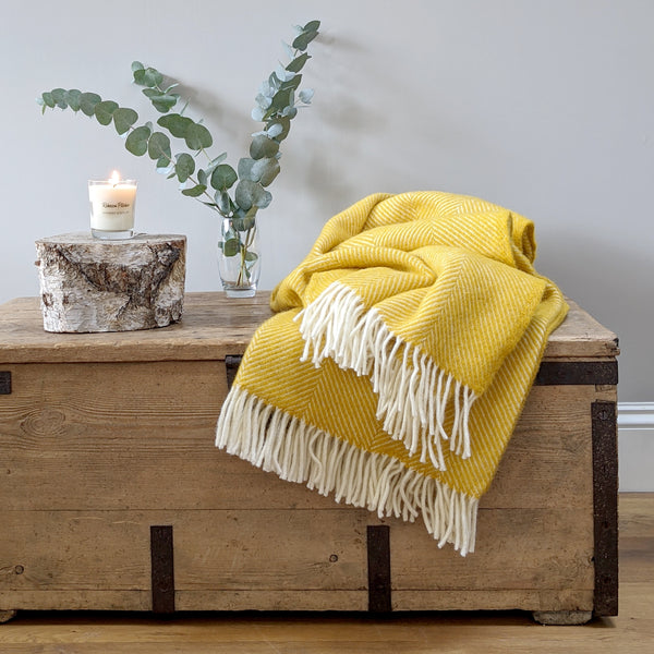 Large Yellow Herringbone Wool Throw