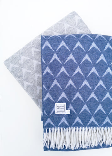 Blue and Grey Merino Coastal Blankets