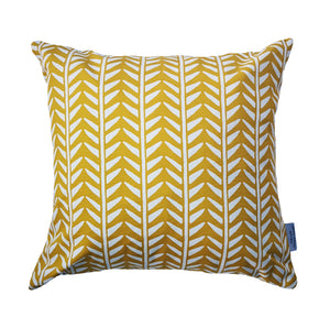 mustard and white wishbone print cushion