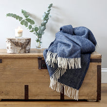 Load image into Gallery viewer, Navy Blue Wool Throw