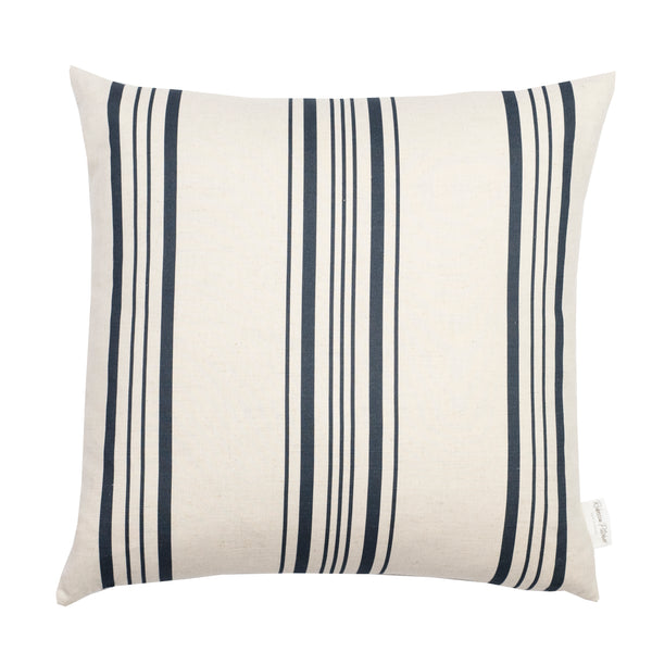 Navy Linen Ticking Stripe Cushion