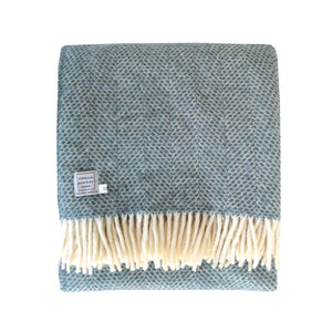 Petrol Blue Wool Throw