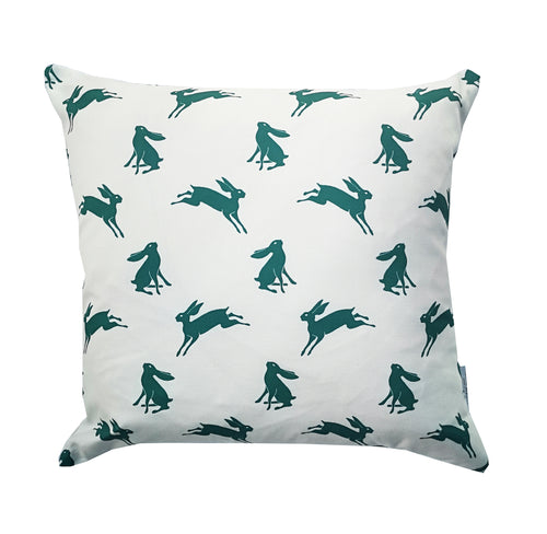 petrol blue hare cushion