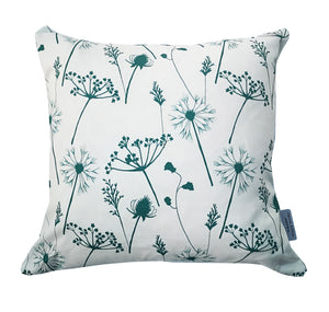 petrol blue meadow flower cushion