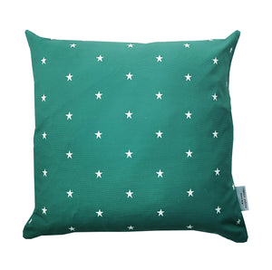petrol blue and white star cushion stripes on reverse