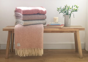 wool blankets in cranberry, pink, heather, purple grey