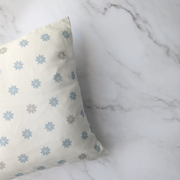 Powder Blue and Grey Linen Nordic Star Cushion