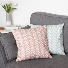 dusky pink and duckegg wishbone cushions