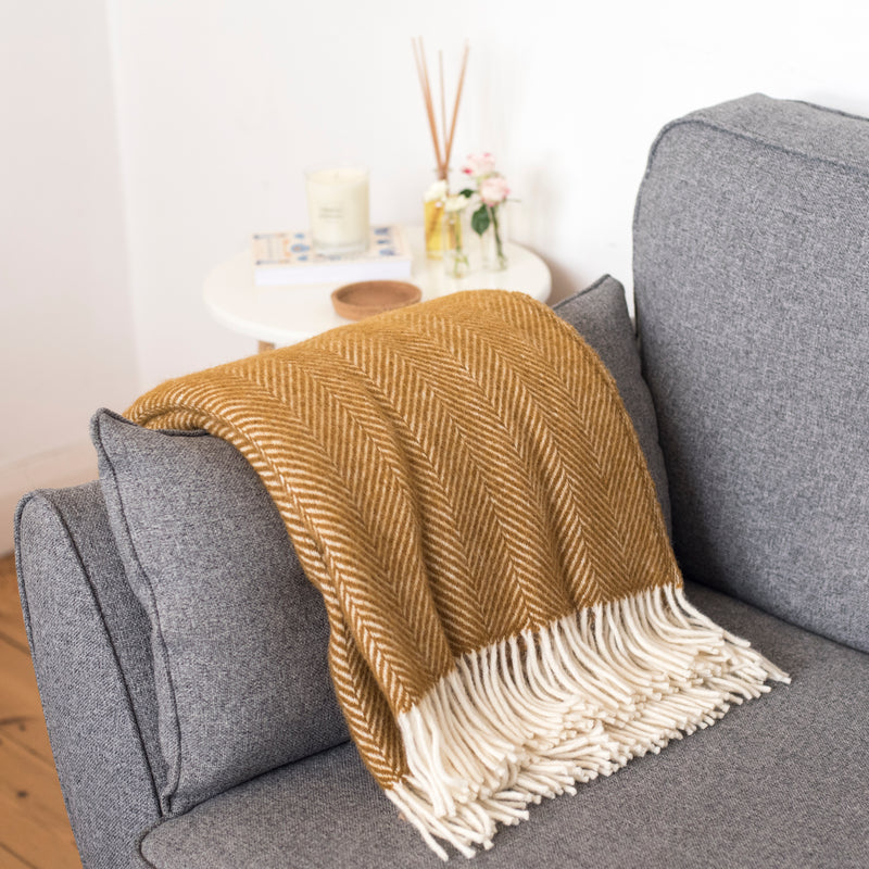 Mustard Herringbone Wool Throw