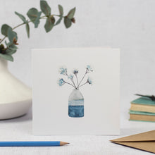 Blank Card featuring a watercolour illustration of blue flowers in a vase