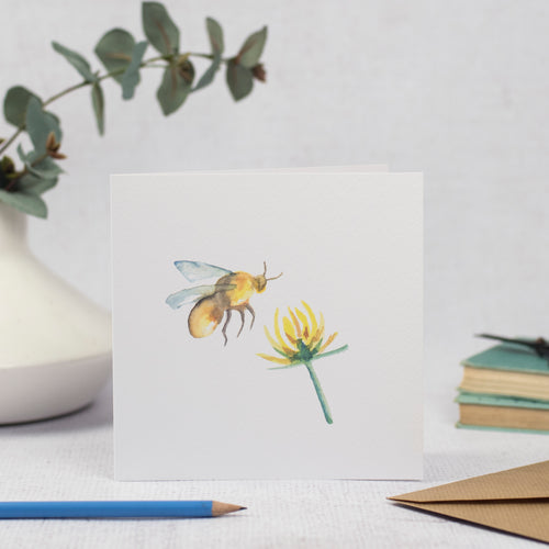 Bumble Bee and Clover Flower Blank Card