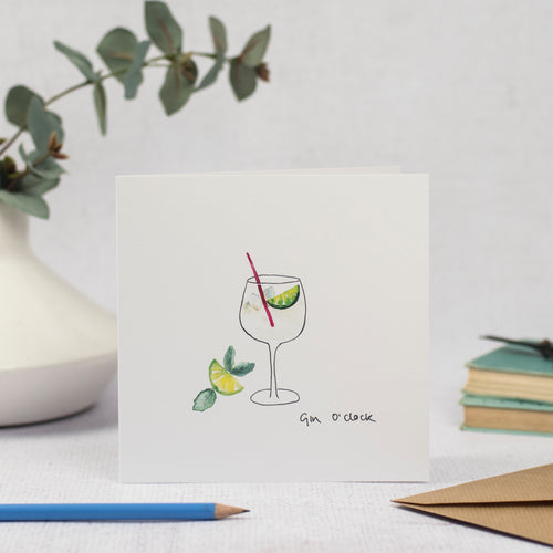 Blank Card of Gin Glass and text Gin O'clock