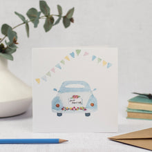 Vintage wedding car card with bunting